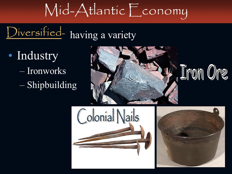 Mid-Atlantic Economy Industry Diversified- Iron Ore Colonial Nails
