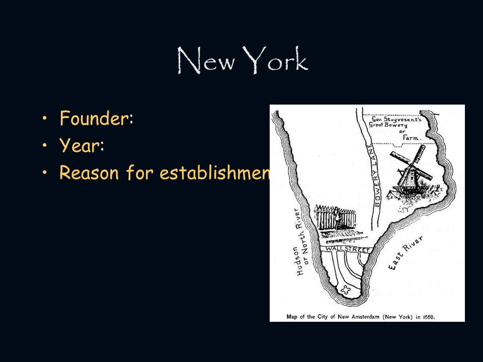 New York Founder: Year: Reason for establishment: