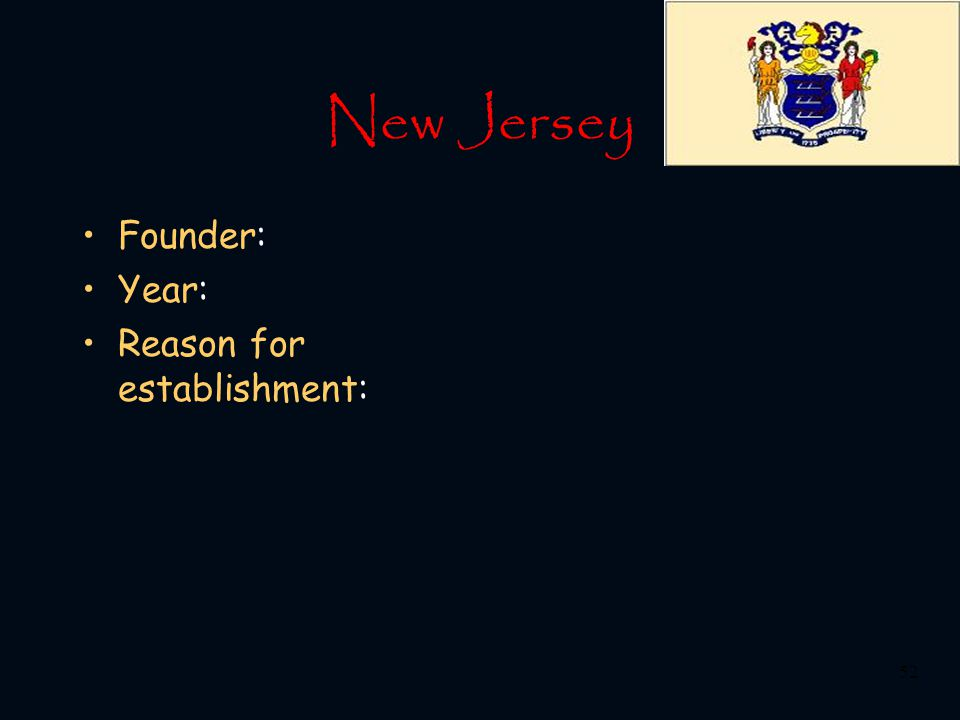 New Jersey Founder: Year: Reason for establishment: