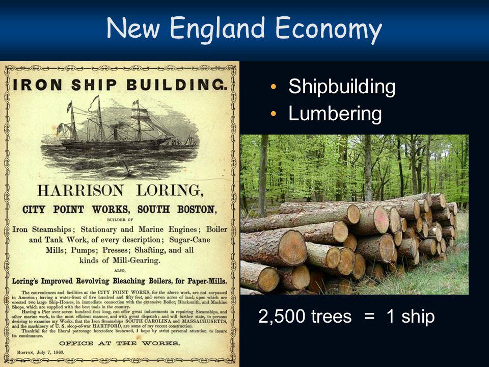 New England Economy Shipbuilding Lumbering 2,500 trees = 1 ship