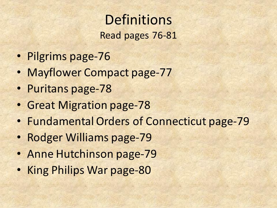 Definitions Read pages 76-81