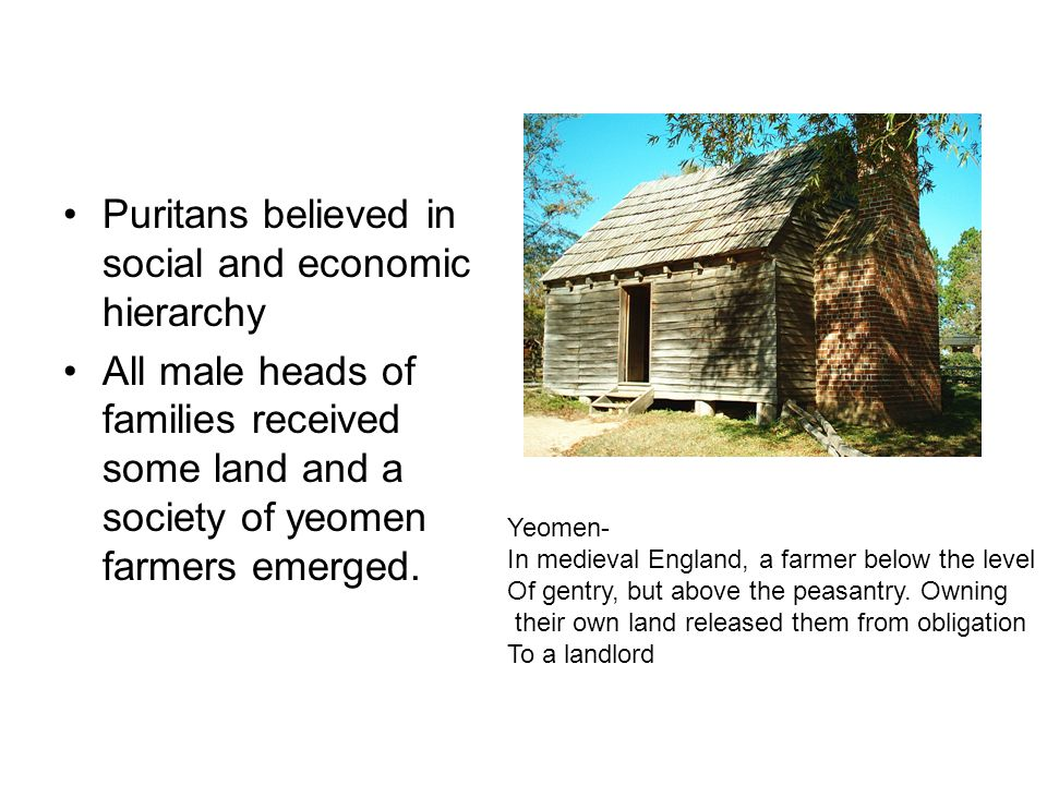 Puritans believed in social and economic hierarchy