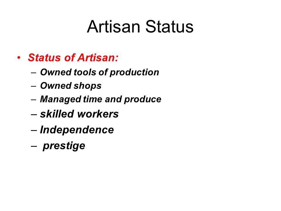Artisan Status Status of Artisan: skilled workers Independence