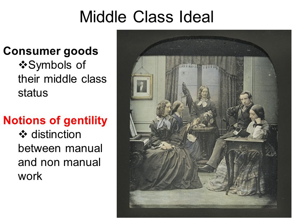 Middle Class Ideal Consumer goods Symbols of their middle class status