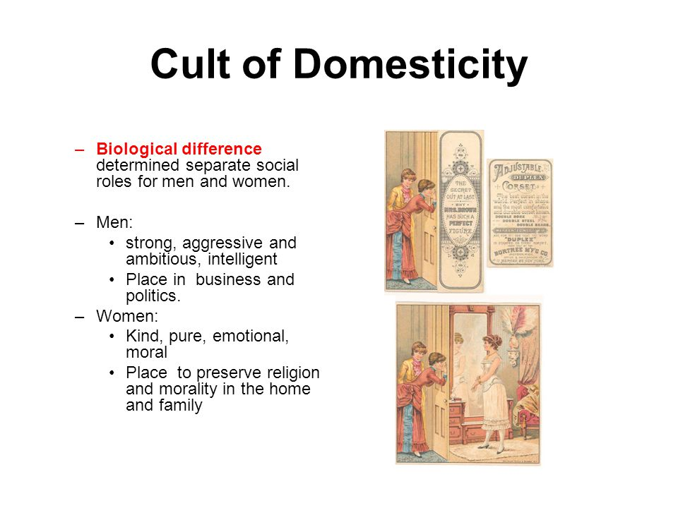 Cult of Domesticity Biological difference determined separate social roles for men and women. Men: