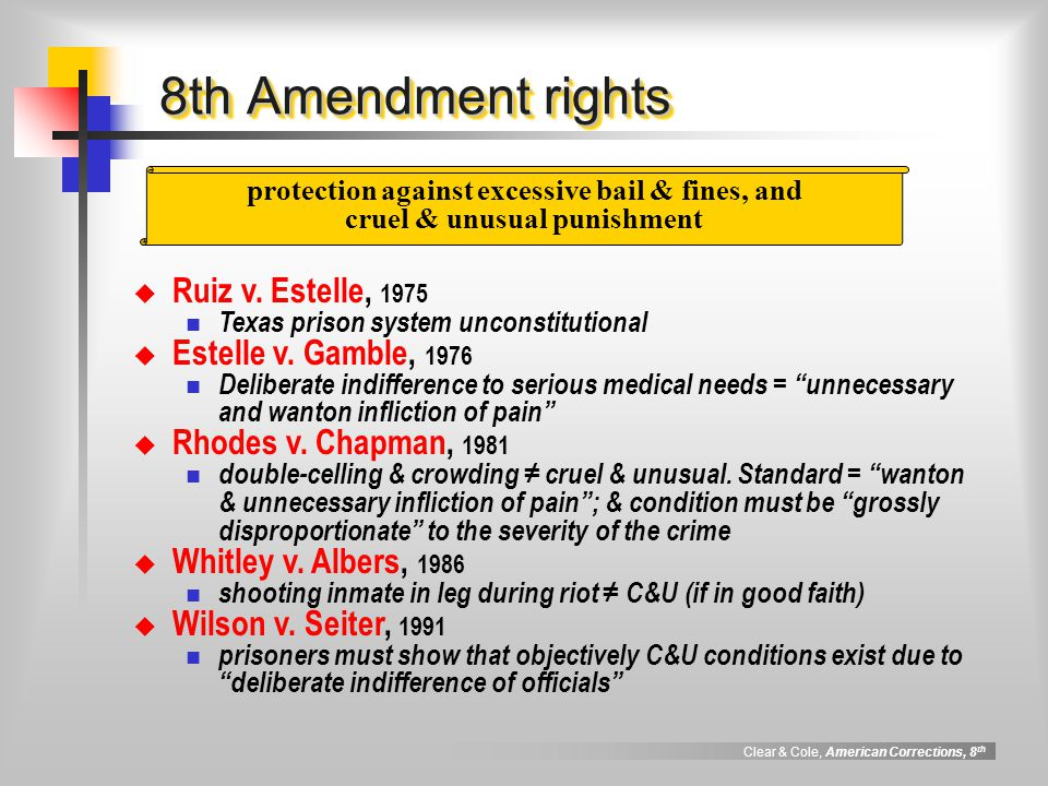 8th Amendment rights Ruiz v. Estelle, 1975 Estelle v. Gamble, 1976