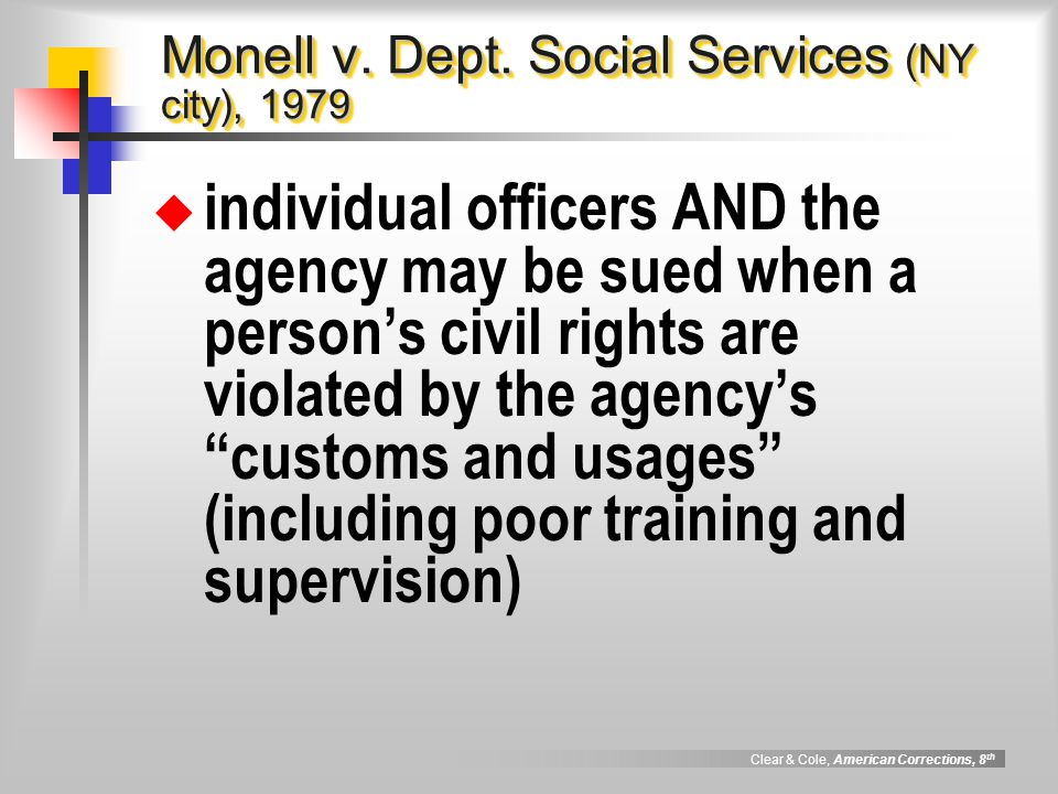Monell v. Dept. Social Services (NY city), 1979