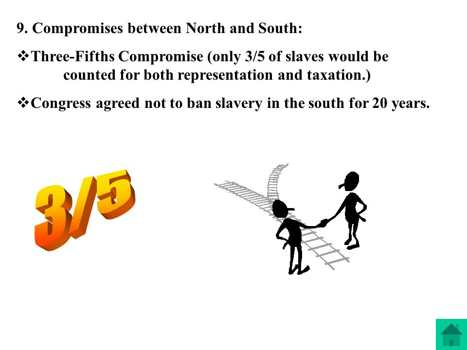 3/5 9. Compromises between North and South: