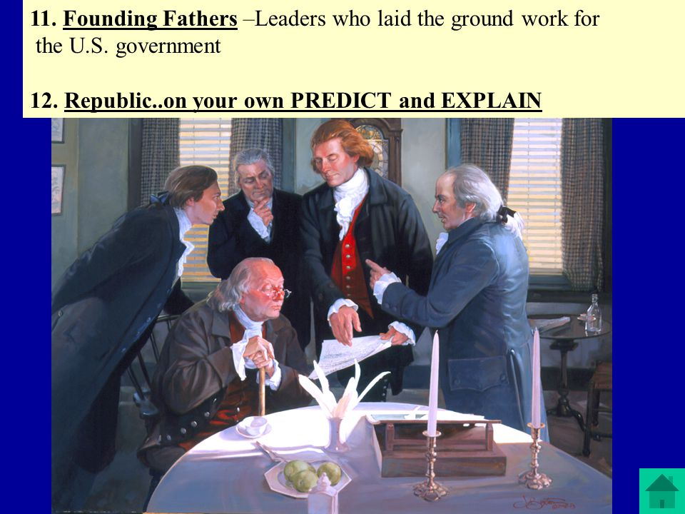11. Founding Fathers –Leaders who laid the ground work for
