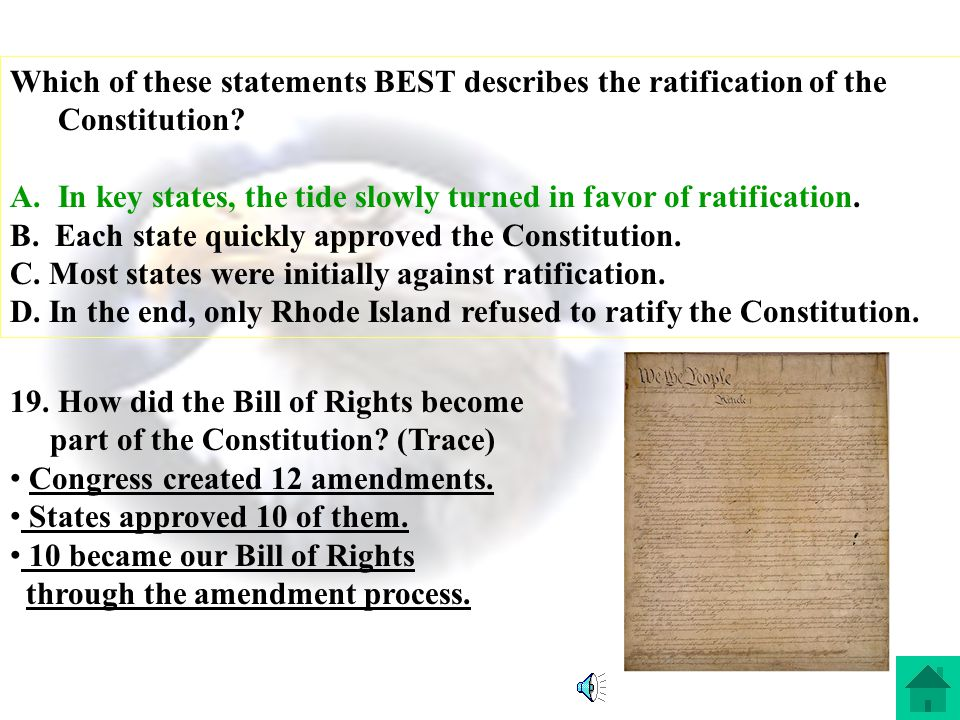 Which of these statements BEST describes the ratification of the Constitution