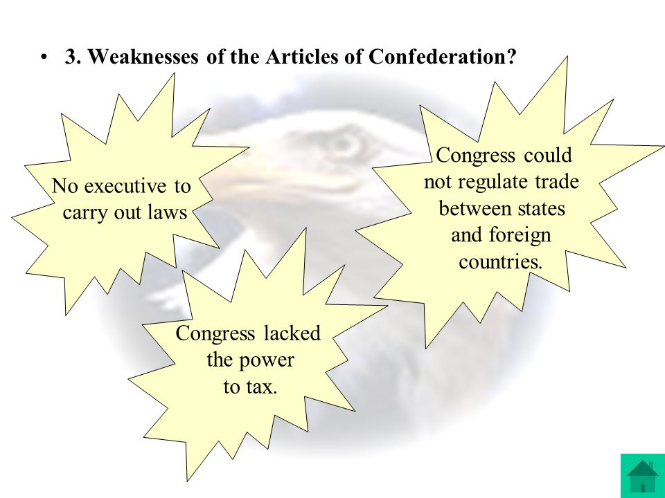 3. Weaknesses of the Articles of Confederation