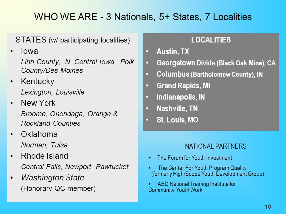 WHO WE ARE - 3 Nationals, 5+ States, 7 Localities