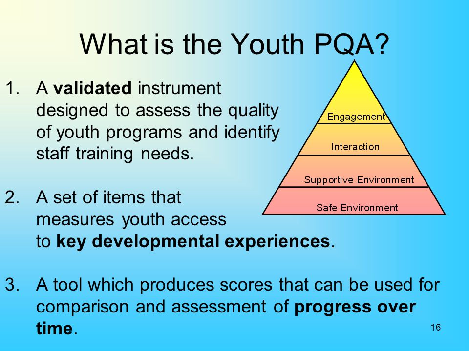 What is the Youth PQA 1. A validated instrument