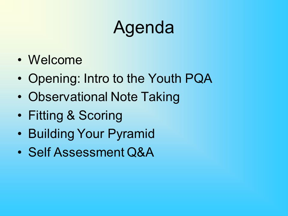 Agenda Welcome Opening: Intro to the Youth PQA