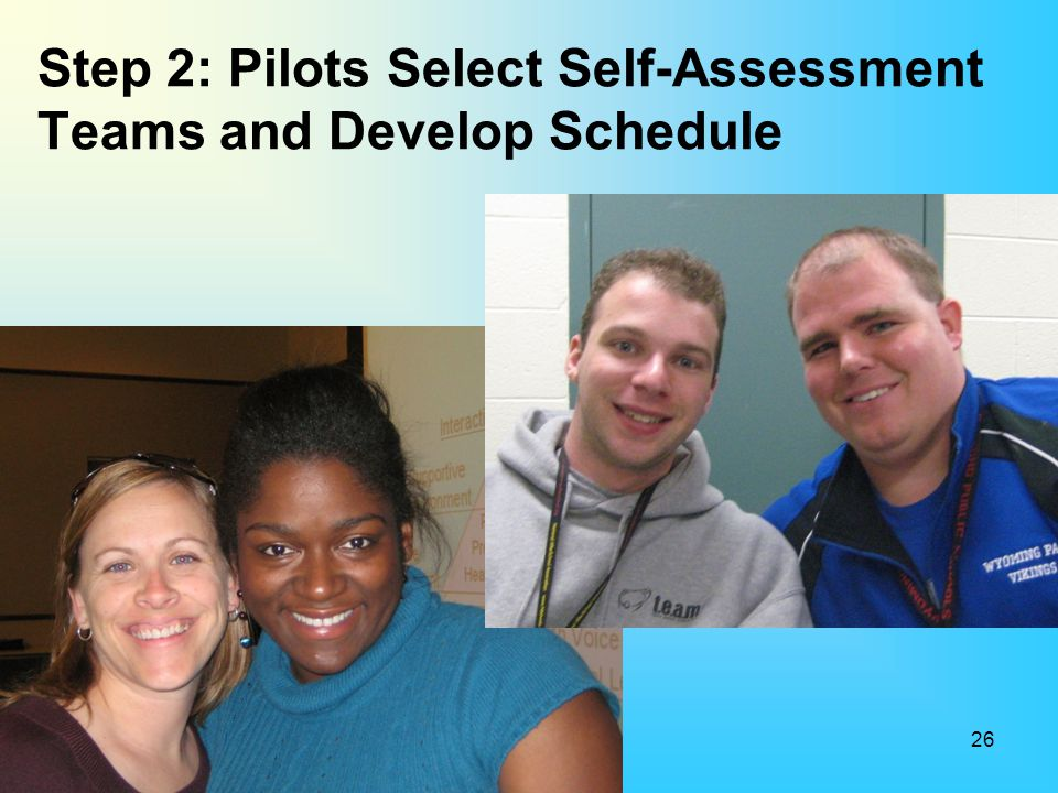 Step 2: Pilots Select Self-Assessment Teams and Develop Schedule