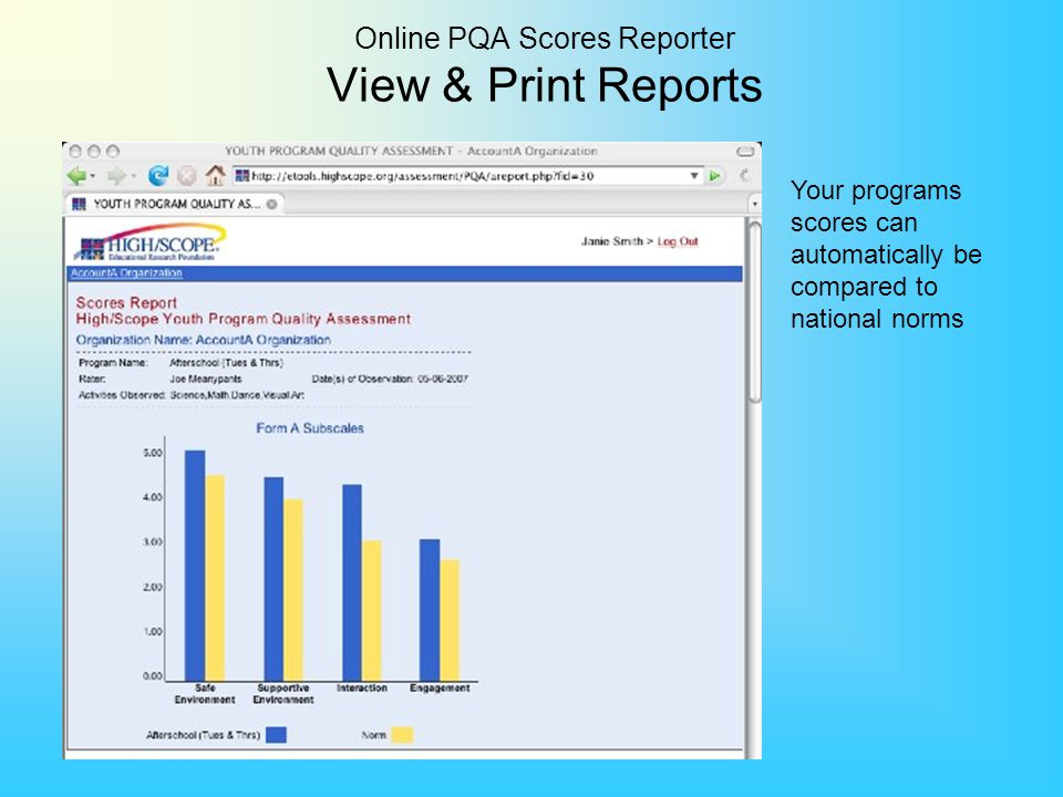 Online PQA Scores Reporter View & Print Reports