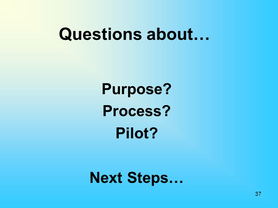 Purpose Process Pilot Next Steps…