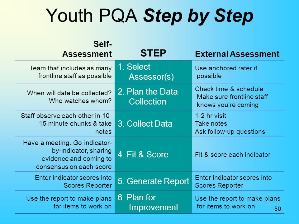 Youth PQA Step by Step STEP Self- Assessment External Assessment