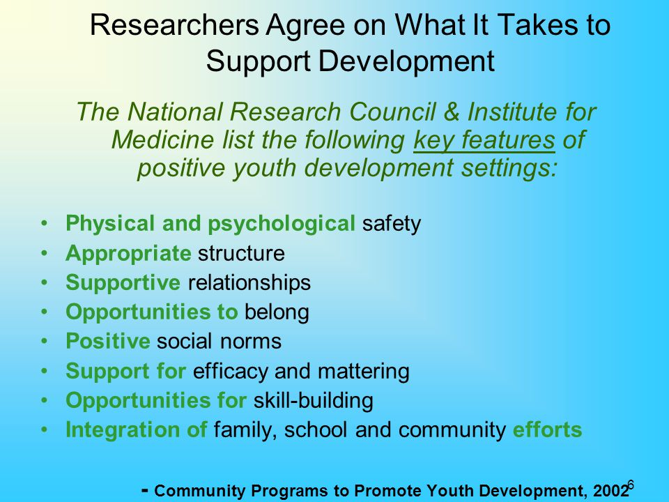 Researchers Agree on What It Takes to Support Development