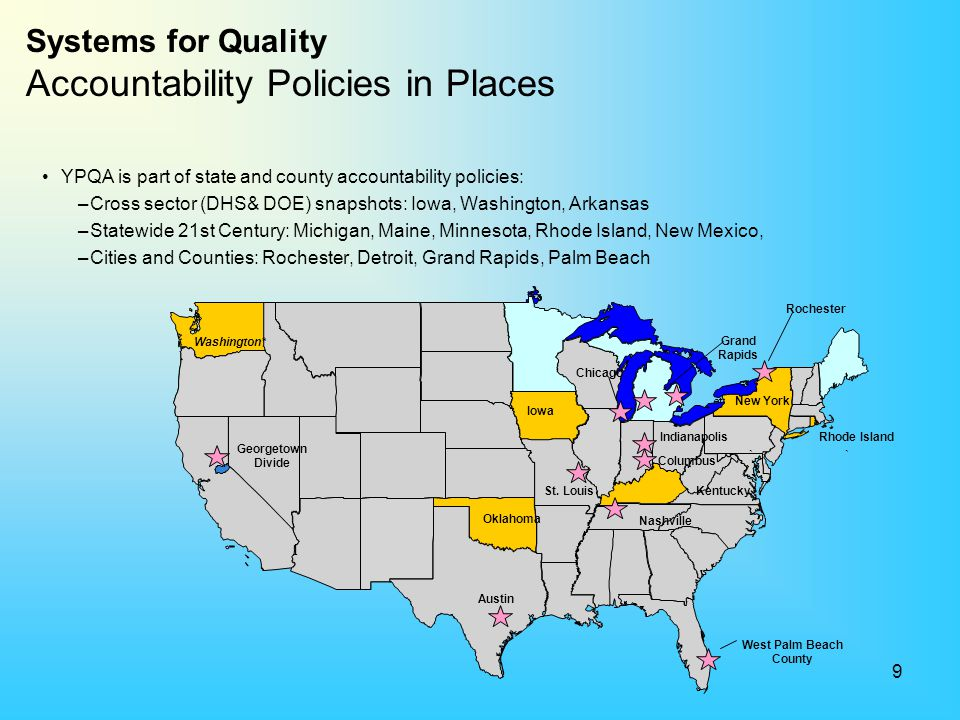 Systems for Quality Accountability Policies in Places