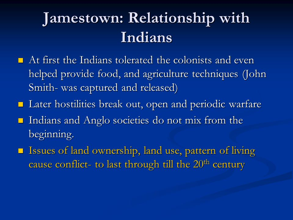 Jamestown: Relationship with Indians