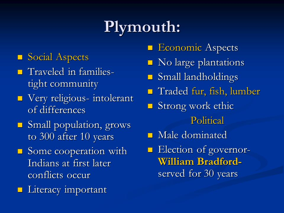 Plymouth: Economic Aspects No large plantations Social Aspects