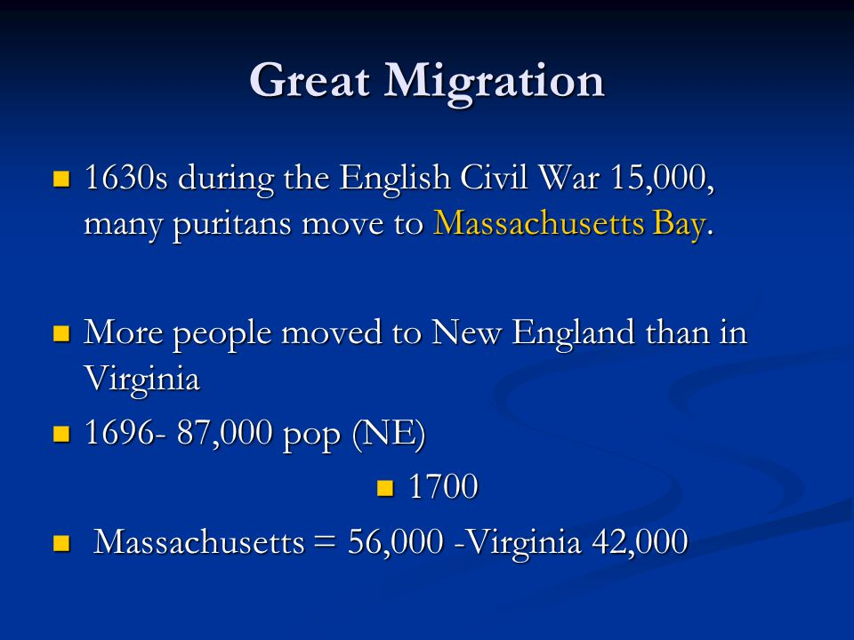 Great Migration 1630s during the English Civil War 15,000, many puritans move to Massachusetts Bay.