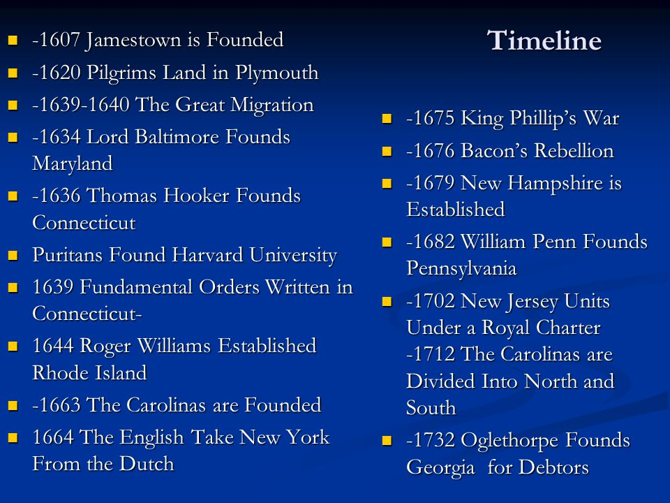 Timeline -1607 Jamestown is Founded -1620 Pilgrims Land in Plymouth