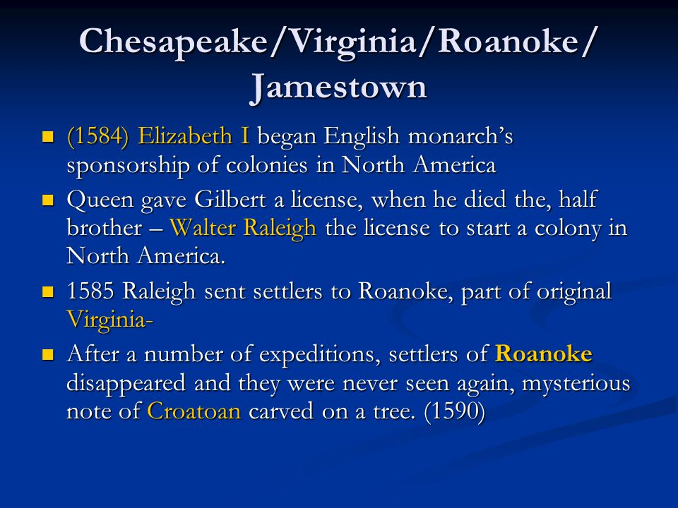 Chesapeake/Virginia/Roanoke/ Jamestown