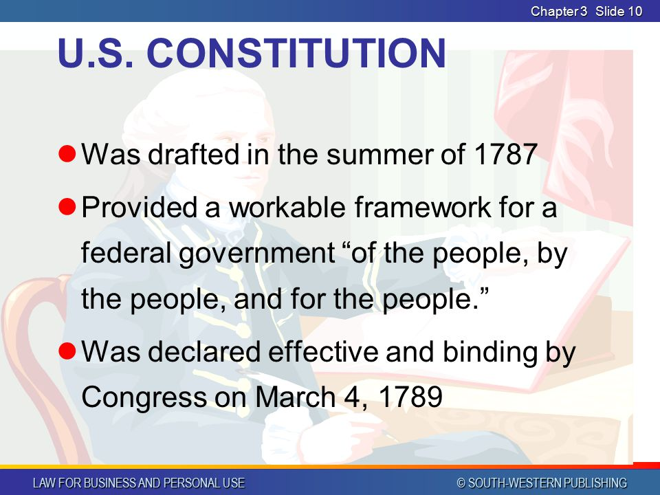 U.S. CONSTITUTION Was drafted in the summer of 1787