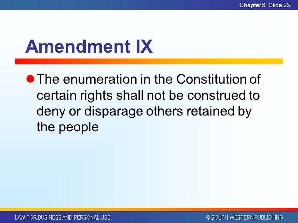 Chapter 3 Amendment IX.