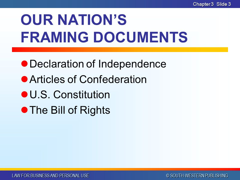 OUR NATION'S FRAMING DOCUMENTS