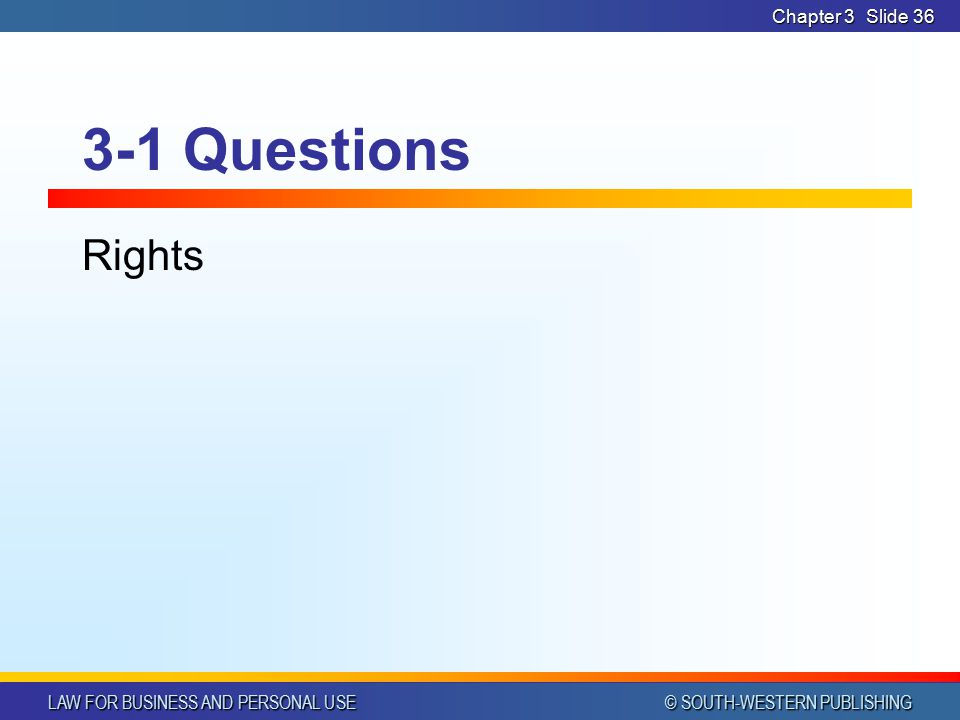 Chapter 3 3-1 Questions Rights
