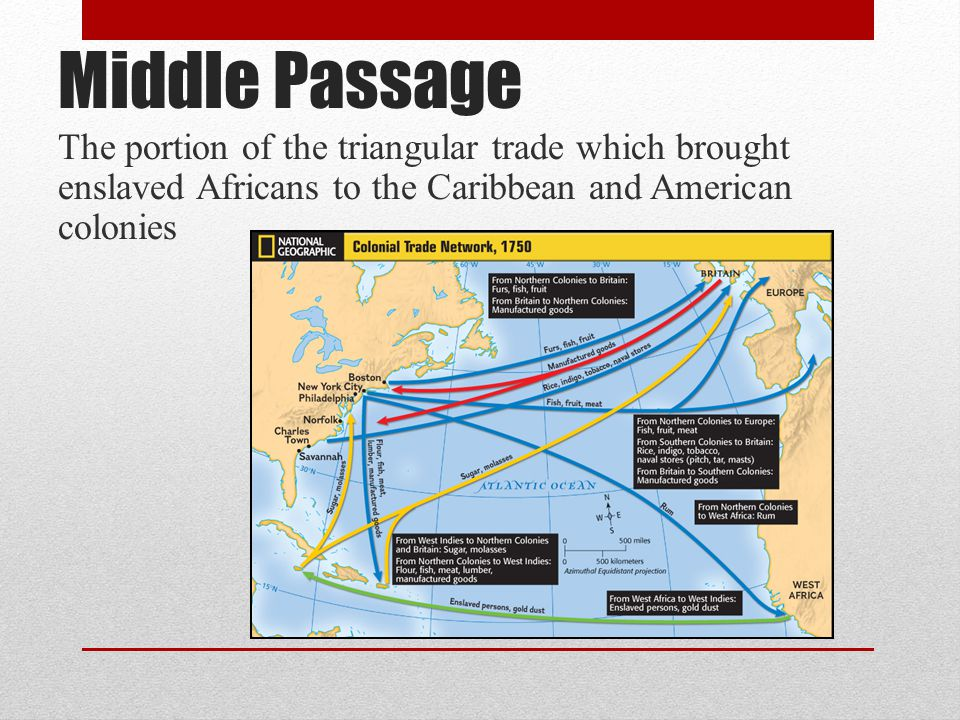 Middle Passage The portion of the triangular trade which brought enslaved Africans to the Caribbean and American colonies.
