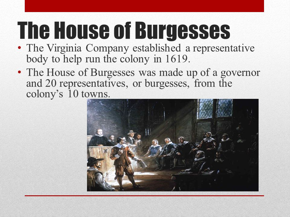 The House of Burgesses The Virginia Company established a representative body to help run the colony in 1619.