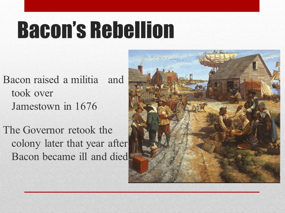 Bacon's Rebellion Bacon raised a militia and took over Jamestown in 1676.