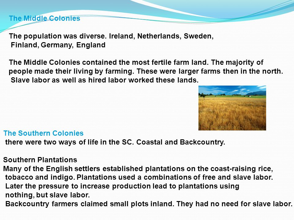 The Middle Colonies The population was diverse. Ireland, Netherlands, Sweden, Finland, Germany, England.
