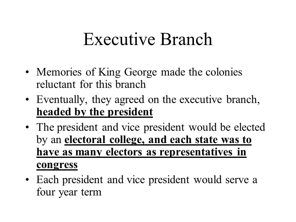 Executive Branch Memories of King George made the colonies reluctant for this branch.
