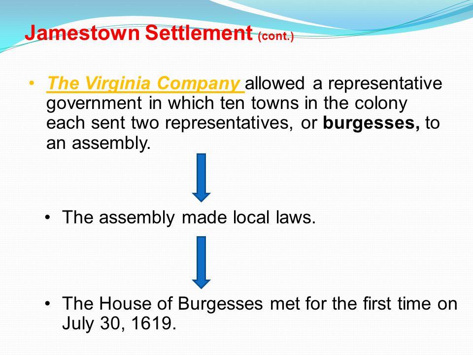 Jamestown Settlement (cont.)