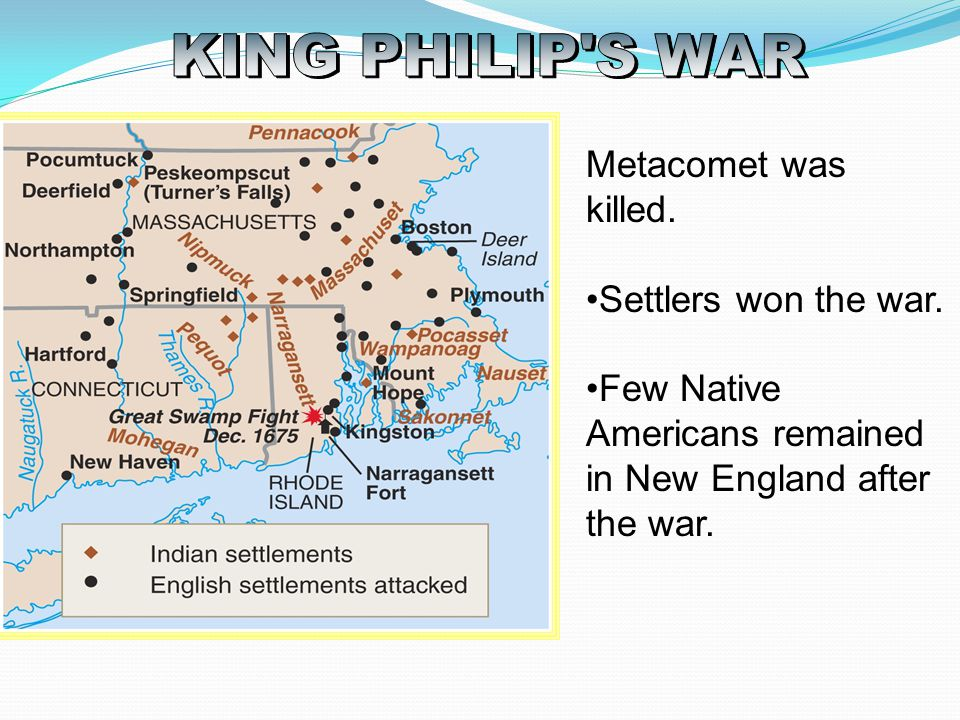 KING PHILIP S WAR Metacomet was killed. Settlers won the war.