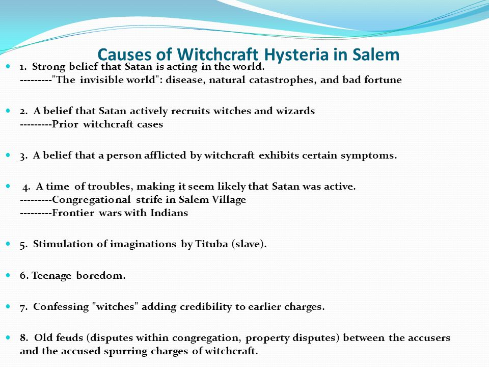 Causes of Witchcraft Hysteria in Salem