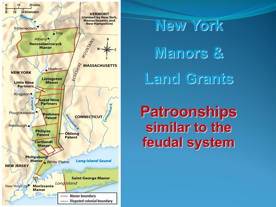 Land Grants Patroonships similar to the feudal system