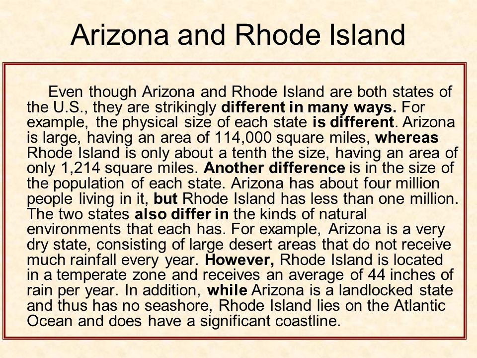 Arizona and Rhode Island