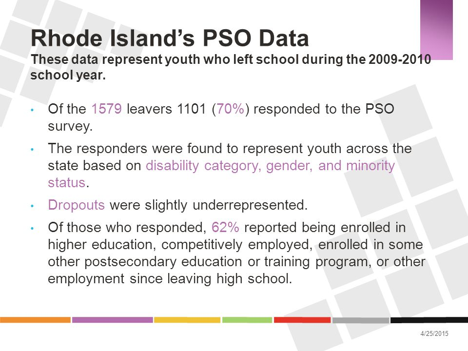 Rhode Island's PSO Data These data represent youth who left school during the 2009-2010 school year.