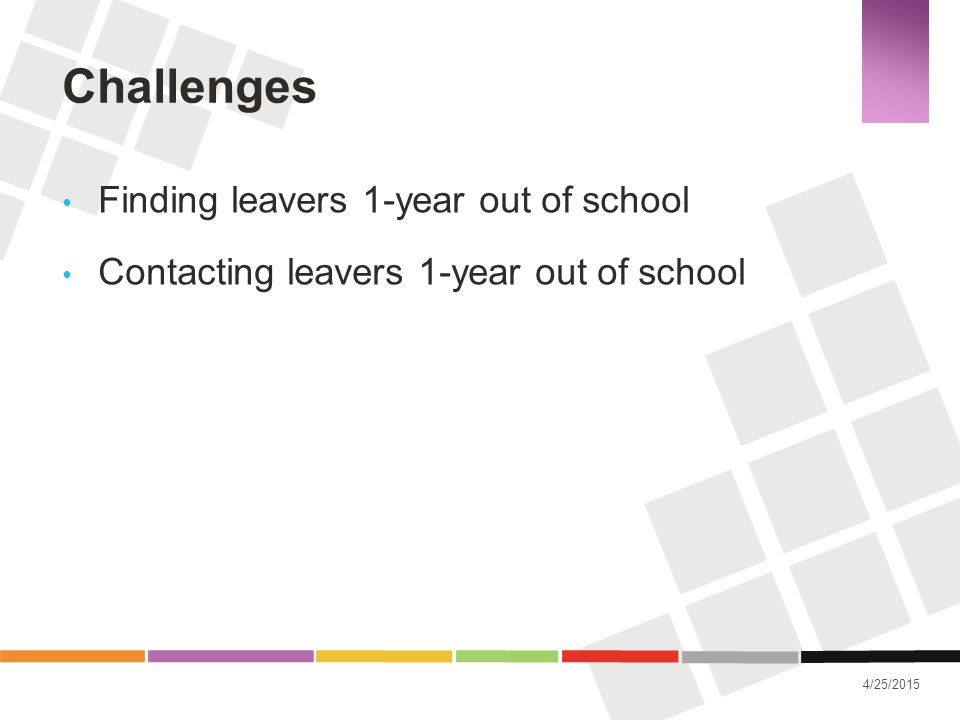 Challenges Finding leavers 1-year out of school