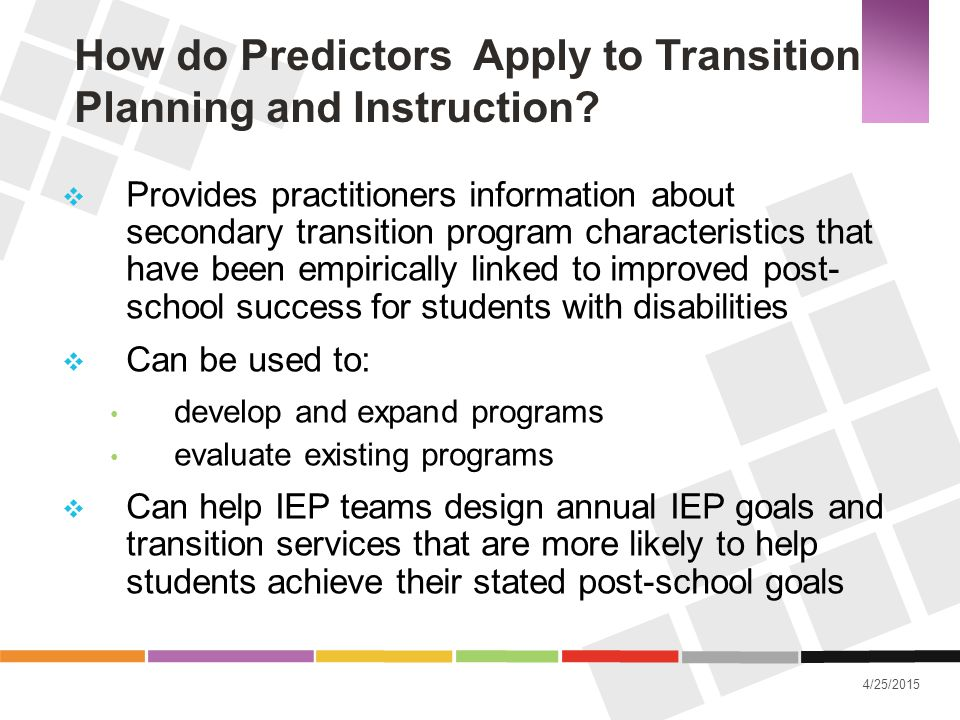 How do Predictors Apply to Transition Planning and Instruction