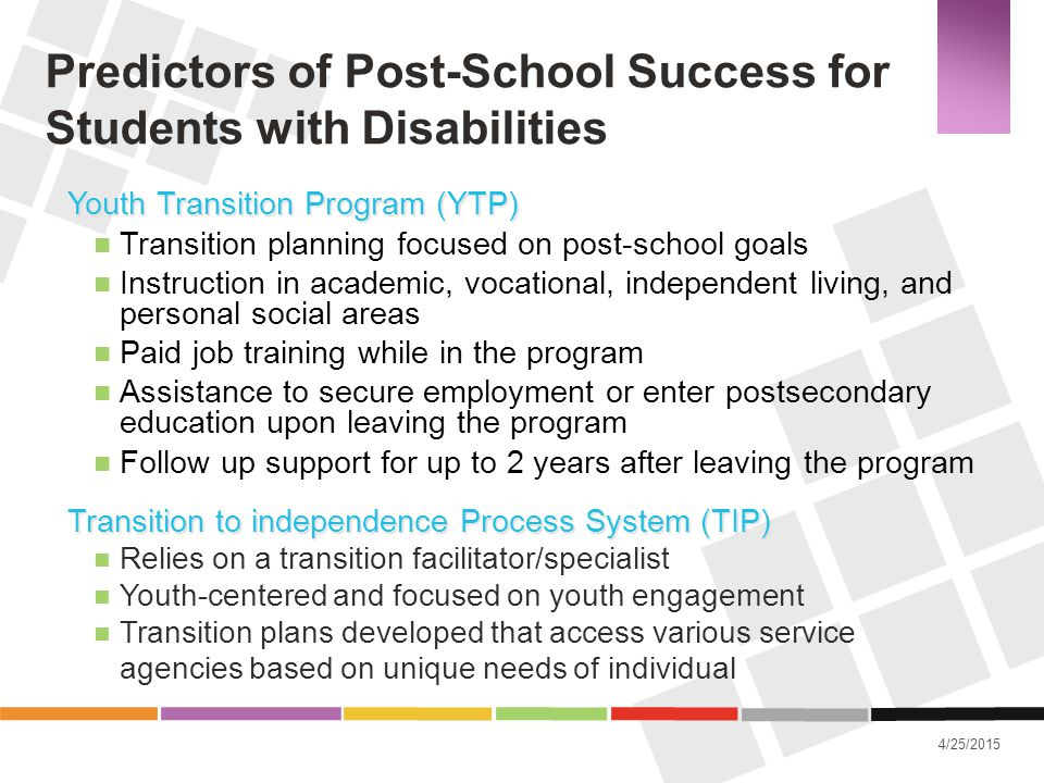 Predictors of Post-School Success for Students with Disabilities