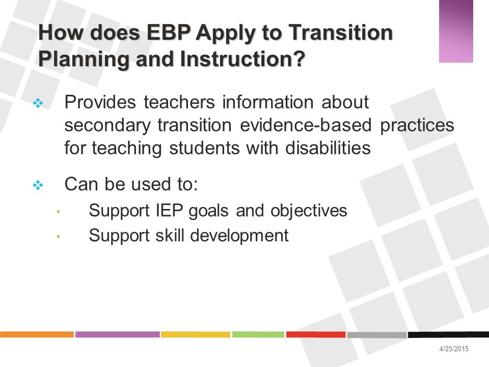 How does EBP Apply to Transition Planning and Instruction