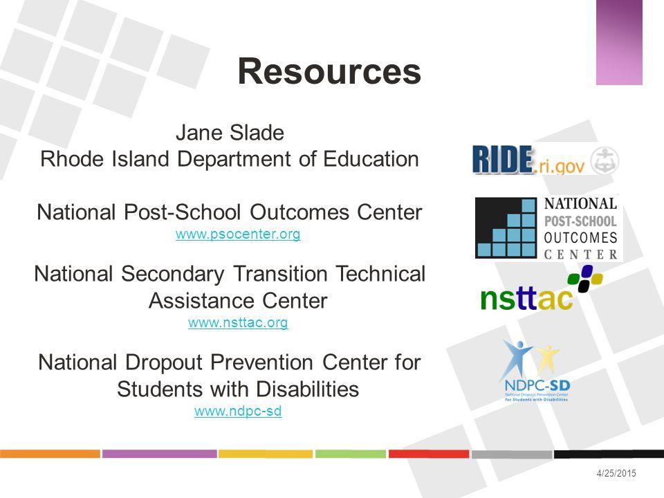 Resources Jane Slade Rhode Island Department of Education