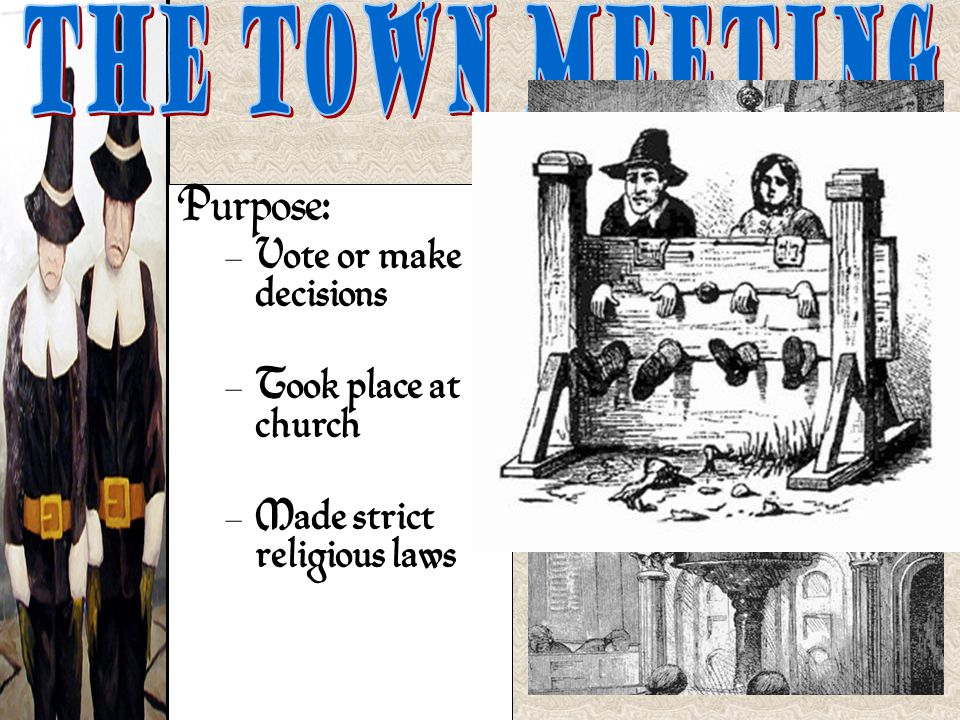 The Town Meeting Purpose: Vote or make decisions Took place at church